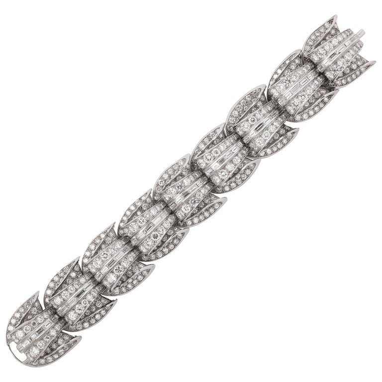 Incredible Geometric Art Deco Diamond Bracelet For Sale