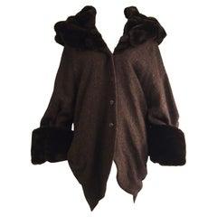 Incredible Harris Tweed Vintage Cocoon Coat with Glamorous Faux Fur Trim, 1980s