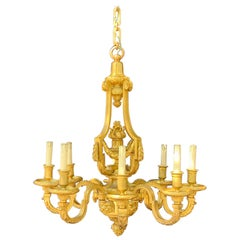 French Doré Bronze Neoclassical Lion Tassel Chandelier attrib. to Henri Vian