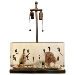 Incredible Large Vintage Resin Aquarium Table Lamp