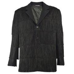 Incredible Moschino Men's Vintage Fringed Black Wool Blazer Jacket, 1990s