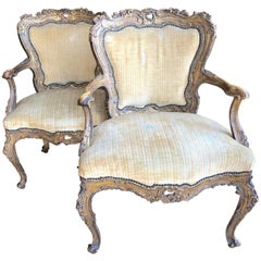 Incredible Museum Quality Pair of Lacquer and Giltwood Carved French Armchairs