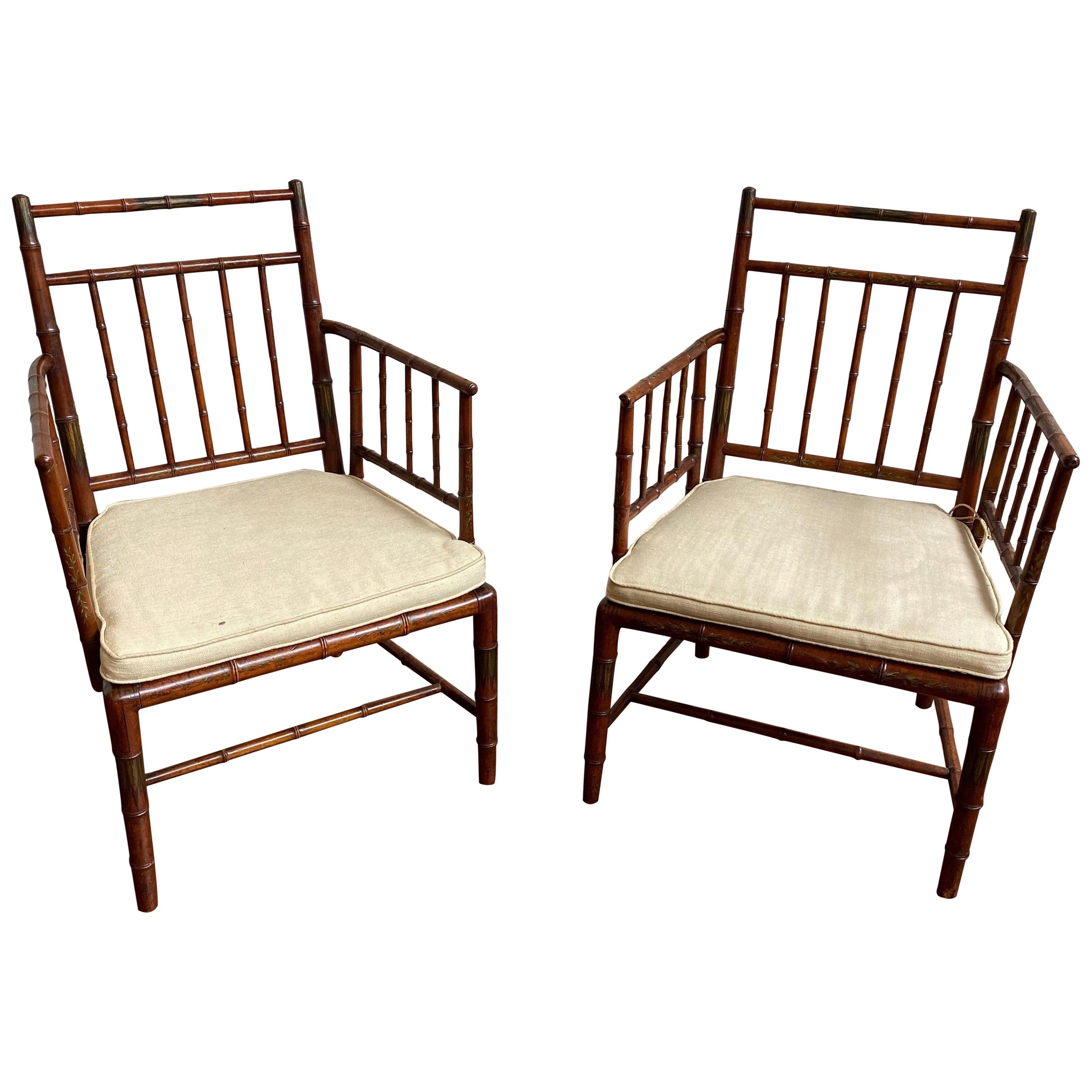 Incredible Pair of Faux Bamboo Chairs with Polychrome Paint Decoration