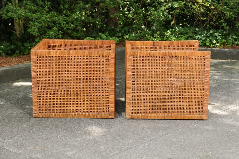 Incredible Pair of Caramel Cane Parsons Chairs by Danny Ho Fong, circa 1965 For Sale 4