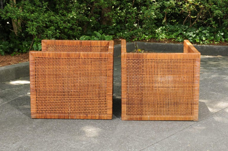 Incredible Pair of Caramel Cane Parsons Chairs by Danny Ho Fong, circa 1965 For Sale 7