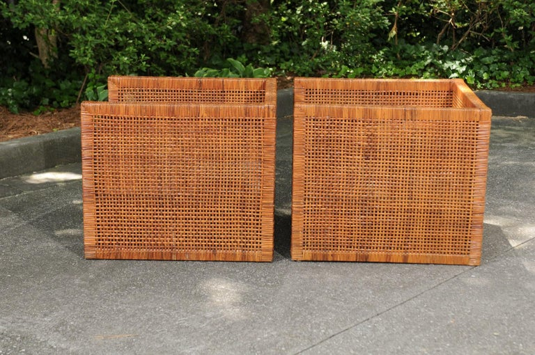 Incredible Pair of Caramel Cane Parsons Chairs by Danny Ho Fong, circa 1965 For Sale 8