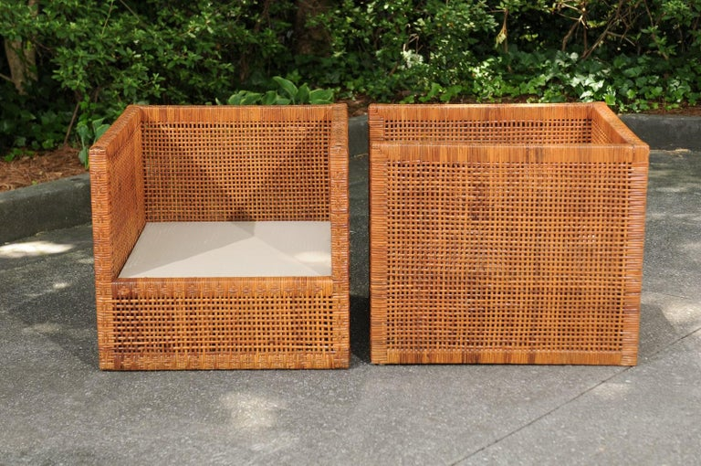 Incredible Pair of Caramel Cane Parsons Chairs by Danny Ho Fong, circa 1965 For Sale 9