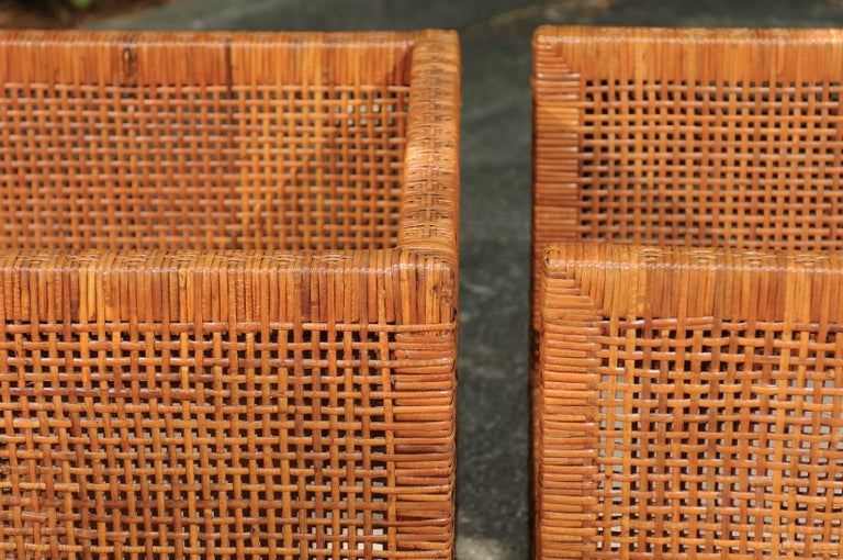 Incredible Pair of Caramel Cane Parsons Chairs by Danny Ho Fong, circa 1965 For Sale 10