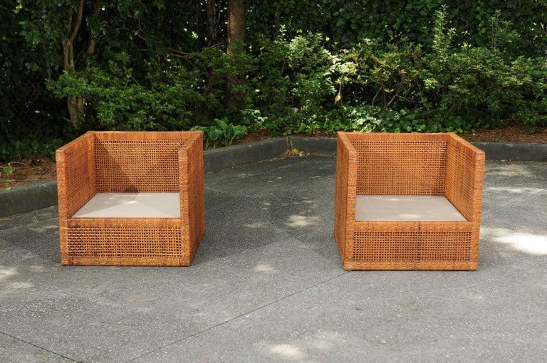 Incredible Pair of Caramel Cane Parsons Chairs by Danny Ho Fong, circa 1965 For Sale 12