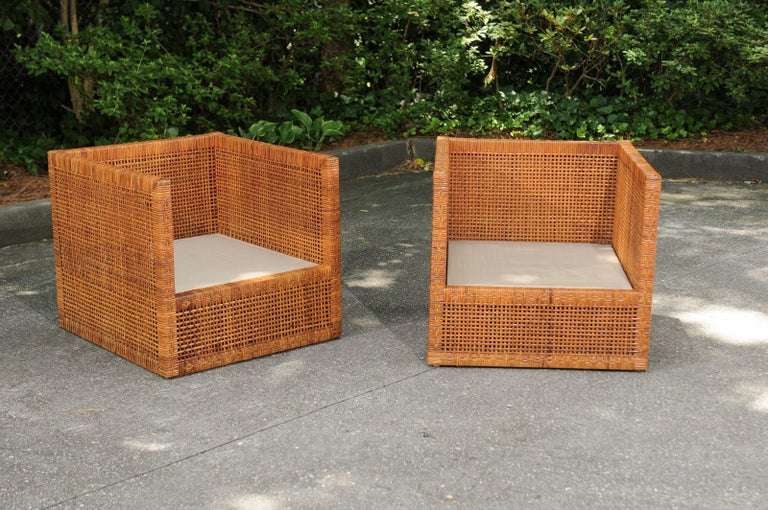 Mid-Century Modern Incredible Pair of Caramel Cane Parsons Chairs by Danny Ho Fong, circa 1965 For Sale