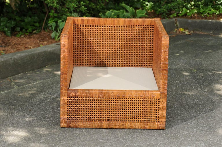 Mid-20th Century Incredible Pair of Caramel Cane Parsons Chairs by Danny Ho Fong, circa 1965 For Sale