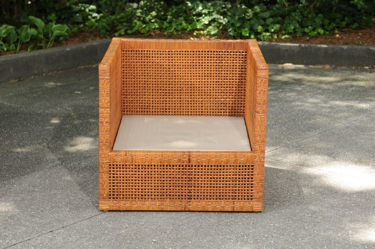 Incredible Pair of Caramel Cane Parsons Chairs by Danny Ho Fong, circa 1965 For Sale 1