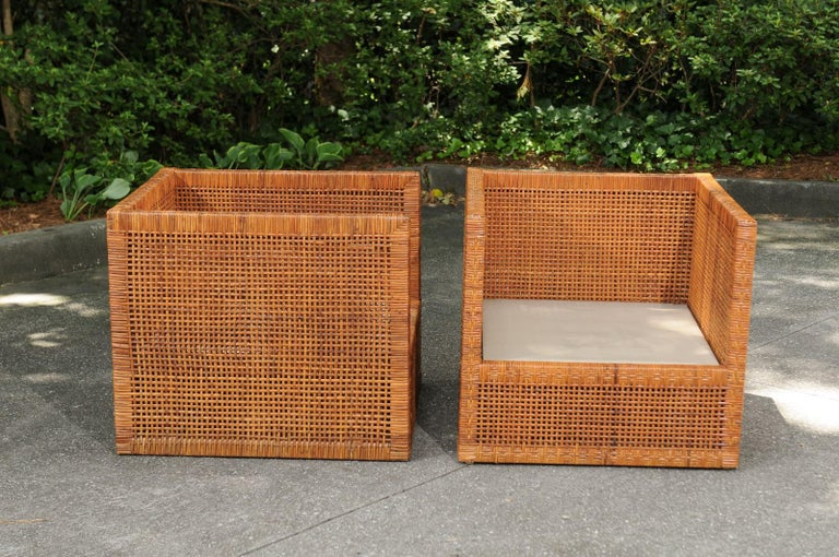 Incredible Pair of Caramel Cane Parsons Chairs by Danny Ho Fong, circa 1965 For Sale 2