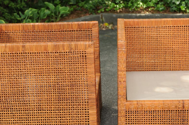 Incredible Pair of Caramel Cane Parsons Chairs by Danny Ho Fong, circa 1965 For Sale 3