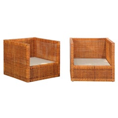 Incredible Pair of Caramel Cane Parsons Chairs by Danny Ho Fong, circa 1965