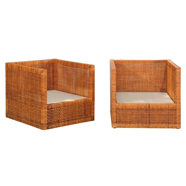 Incredible Pair of Caramel Cane Parsons Chairs by Danny Ho Fong, circa 1965 For Sale