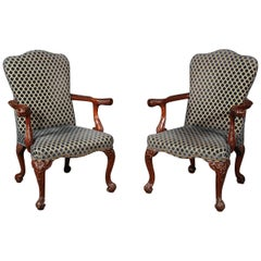 Incredible Pair of Carved Mahogany Lion Head English Regency Lounge Armchairs