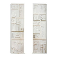 Incredible Pair of Found Objects Sculpture Panels After Louise Nevelson