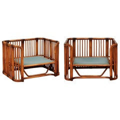 Incredible Pair of Large Scale Rattan Cube Loungers by Brown Jordan, circa 1980