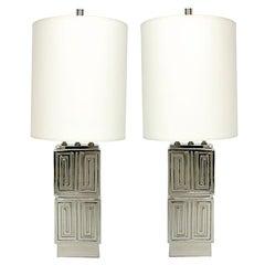 Incredible Pair of Nickel Plated 1940's Lamps - Greek Key Design