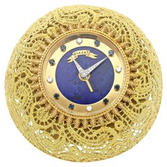 Piaget Gold and Lapis Desk Clock