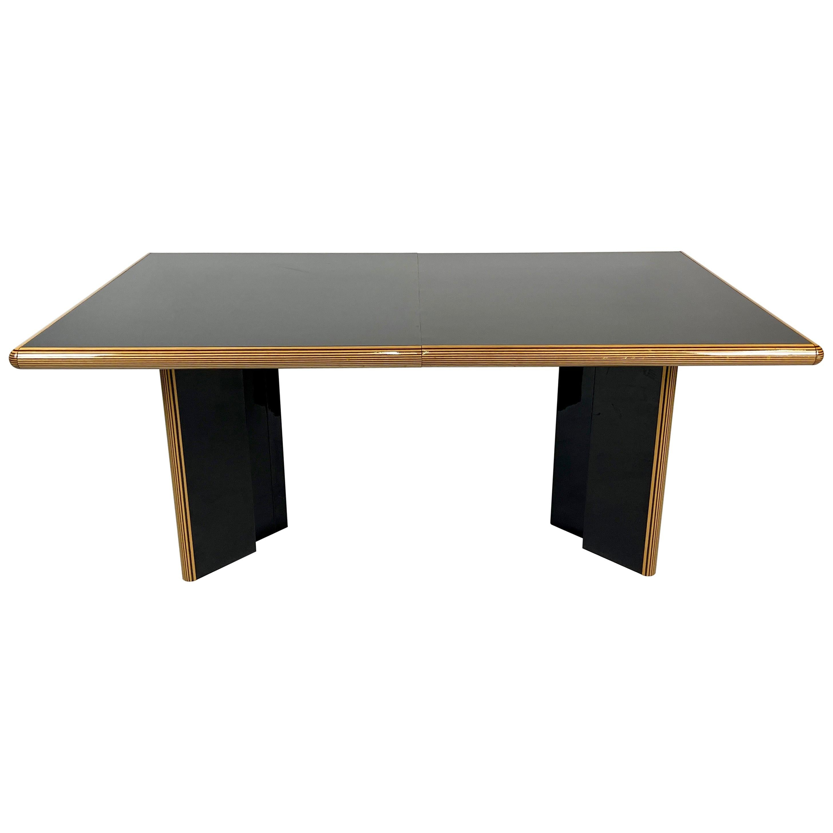 Incredible Pierre Cardin for Roche Bobois Black Lacquer Ext Dining Table, Italy