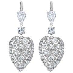 Platinum Deco Style Drop Leaf Diamond Earrings