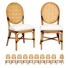 Incredible Set of 12 Custom Dining Chairs in the Style of John Hutton