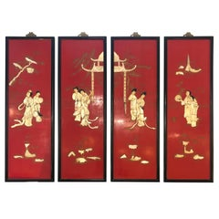 Incredible Set of 4 Red Chinoiserie Panels with Mother of Pearl Relief