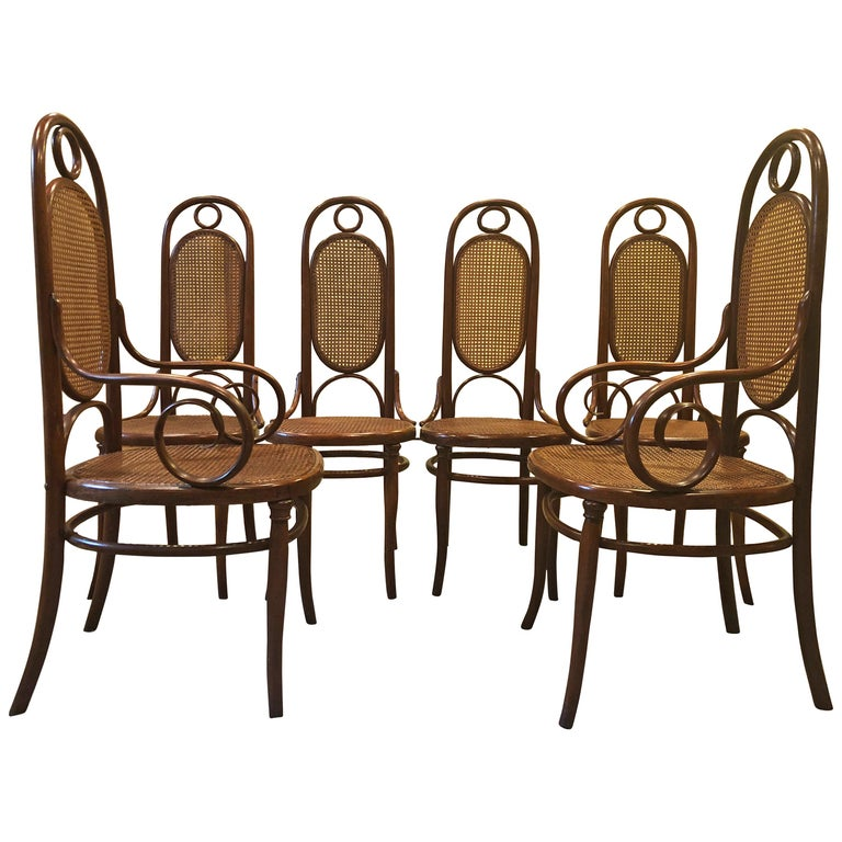 Incredible Set of 6 French Bentwood Thonet Armchairs Dining Chairs No 17 For Sale