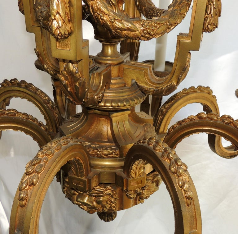 Incredible Signed Henri Vian French Doré Bronze Neoclassical Massive Chandelier In Good Condition For Sale In Roslyn, NY