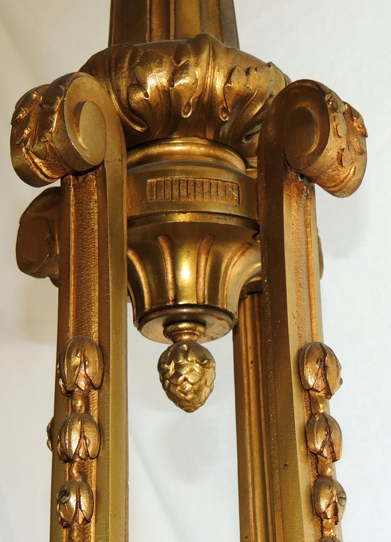 Incredible Signed Henri Vian French Doré Bronze Neoclassical Massive Chandelier For Sale 1
