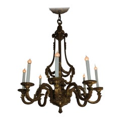 Incredible Signed Henri Vian French Doré Bronze Neoclassical Massive Chandelier