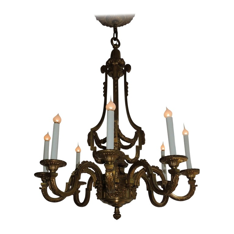 Incredible Signed Henri Vian French Doré Bronze Neoclassical Massive Chandelier For Sale