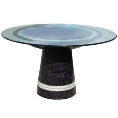 Incredible Tessellated Stone / Pearl Round Pedestal Dining Table