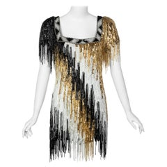 Incredible Vintage Bob Mackie Gold Black White Beaded Fringe Mini Dress