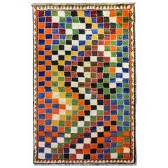 Incredible Vintage Gabbeh Checkerboard Rug