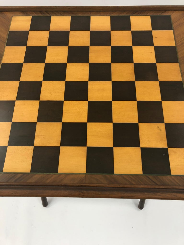 Incredible Walnut Inlaid Figural Tray and Game Table For Sale 5