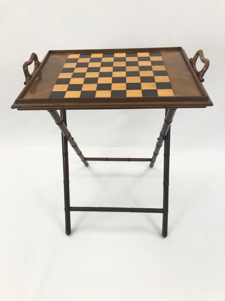 North American Incredible Walnut Inlaid Figural Tray and Game Table For Sale