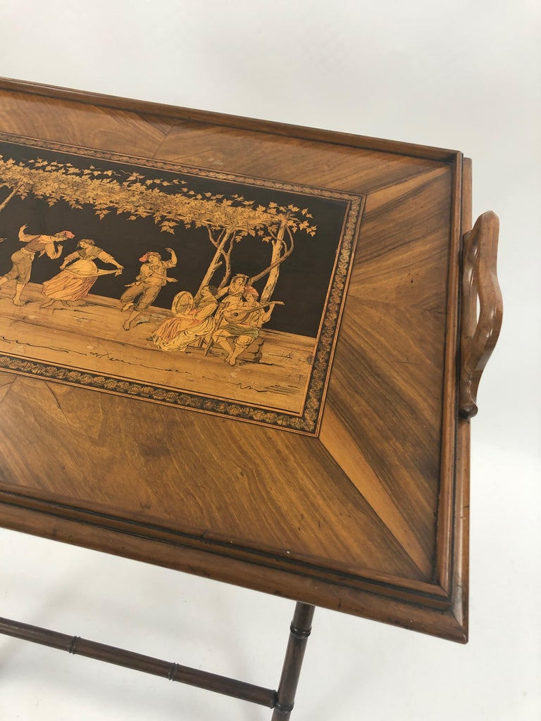 Incredible Walnut Inlaid Figural Tray and Game Table In Excellent Condition For Sale In Hopewell, NJ