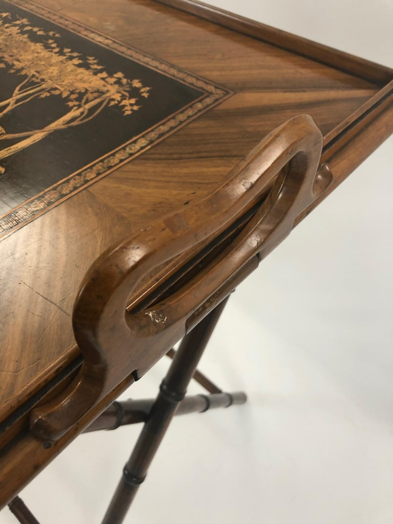 Mid-20th Century Incredible Walnut Inlaid Figural Tray and Game Table For Sale