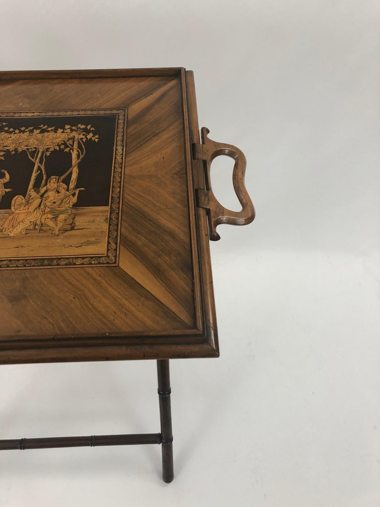 Incredible Walnut Inlaid Figural Tray and Game Table For Sale 4
