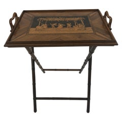 Incredible Walnut Inlaid Figural Tray and Game Table