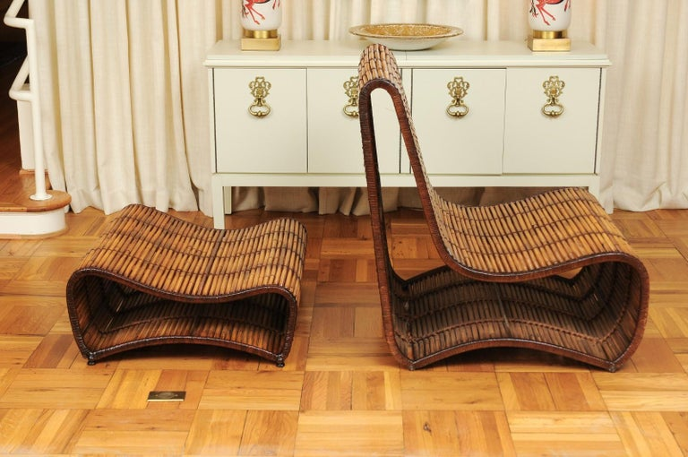 Incredible Wave Lounge Chair and Ottoman Pair by Danny Ho Fong, circa 1970 For Sale 5