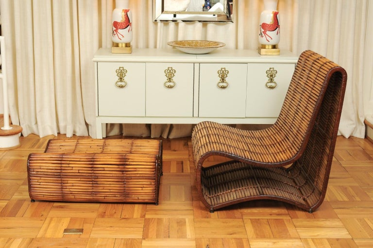 Incredible Wave Lounge Chair and Ottoman Pair by Danny Ho Fong, circa 1970 For Sale 9