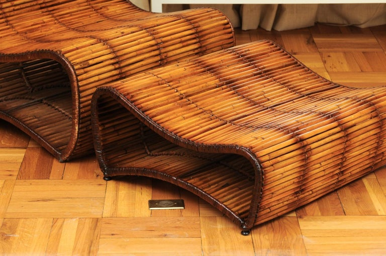 Philippine Incredible Wave Lounge Chair and Ottoman Pair by Danny Ho Fong, circa 1970 For Sale