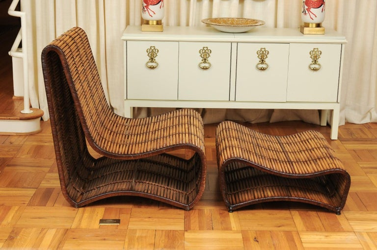 Late 20th Century Incredible Wave Lounge Chair and Ottoman Pair by Danny Ho Fong, circa 1970 For Sale