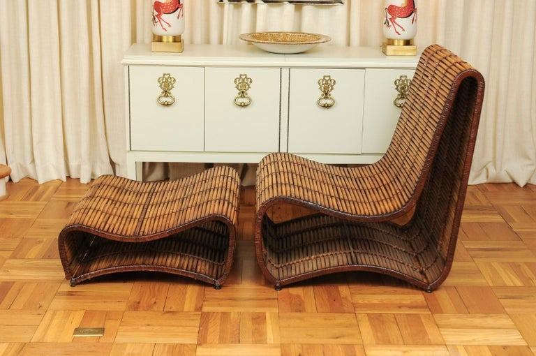 Bamboo Incredible Wave Lounge Chair and Ottoman Pair by Danny Ho Fong, circa 1970 For Sale