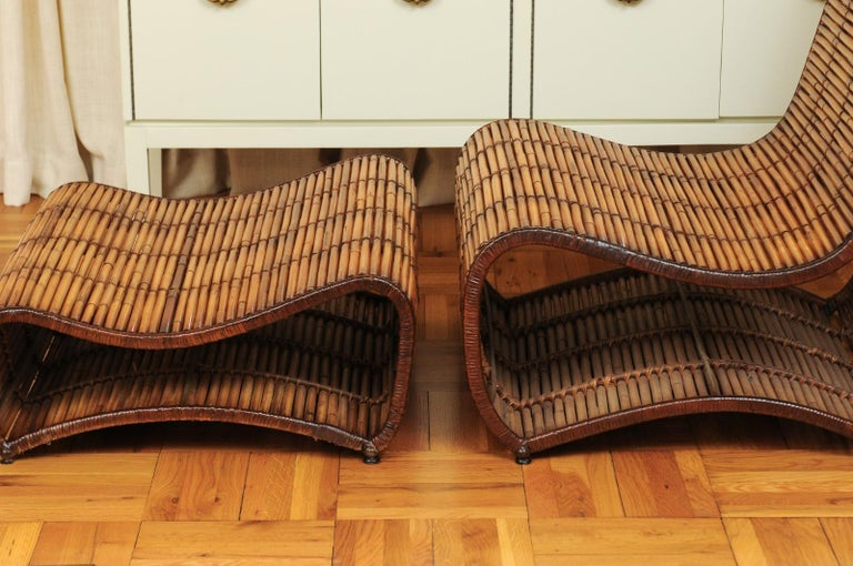 Incredible Wave Lounge Chair and Ottoman Pair by Danny Ho Fong, circa 1970 For Sale 1