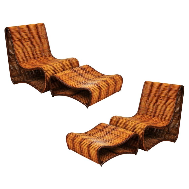 Incredible Wave Lounge Chair and Ottoman Pair by Danny Ho Fong, circa 1970 For Sale